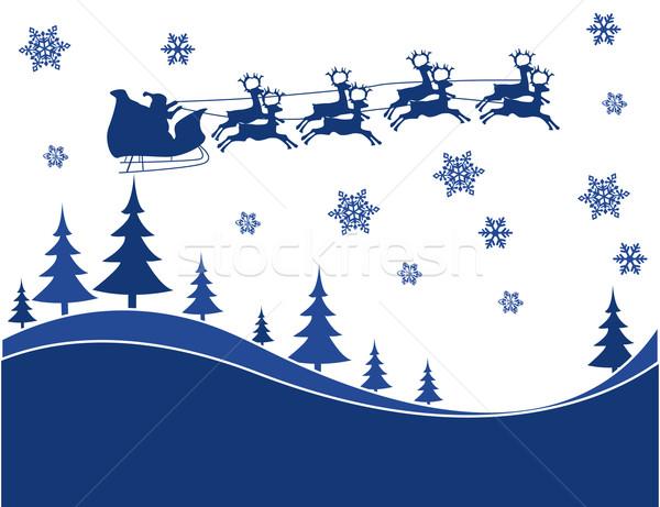 Uçan Noel ren geyiği siluet örnek Stok fotoğraf © nezezon