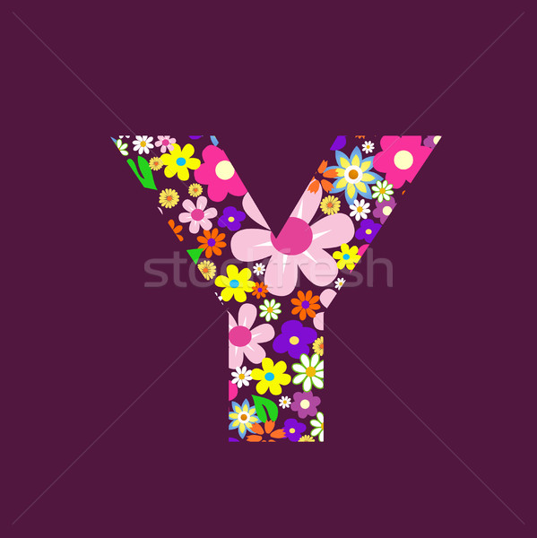 Letter of beautiful flowers Y Stock photo © nezezon