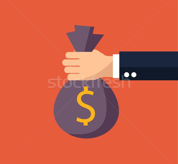 Pénz táska üzlet üzletember pénzügy fehér Stock fotó © nezezon