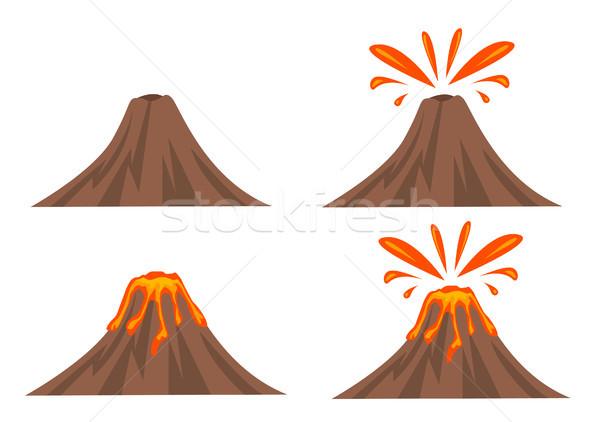 Vulkán ikon gyűjtemény izolált fehér természet tájkép Stock fotó © nezezon