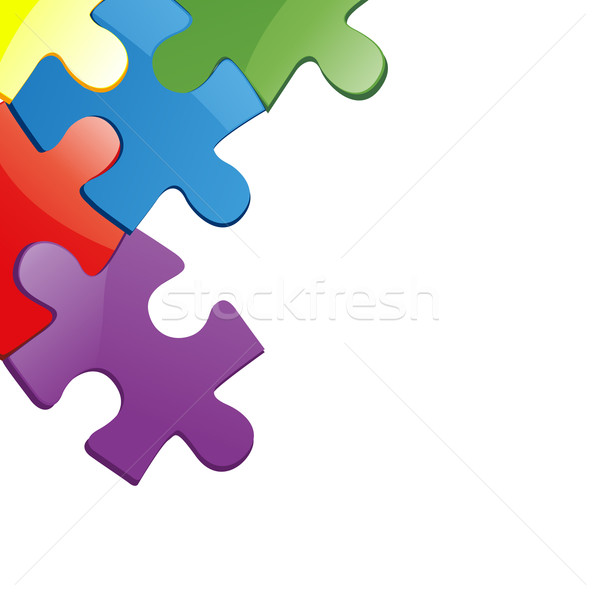 Vector illustration of puzzle pieces Stock photo © nezezon