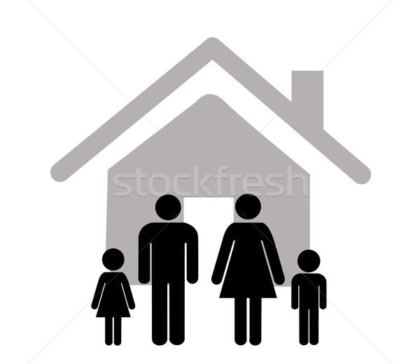 Família ícone branco menina corpo segurança Foto stock © nezezon