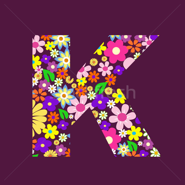 Letter of beautiful flowers K Stock photo © nezezon