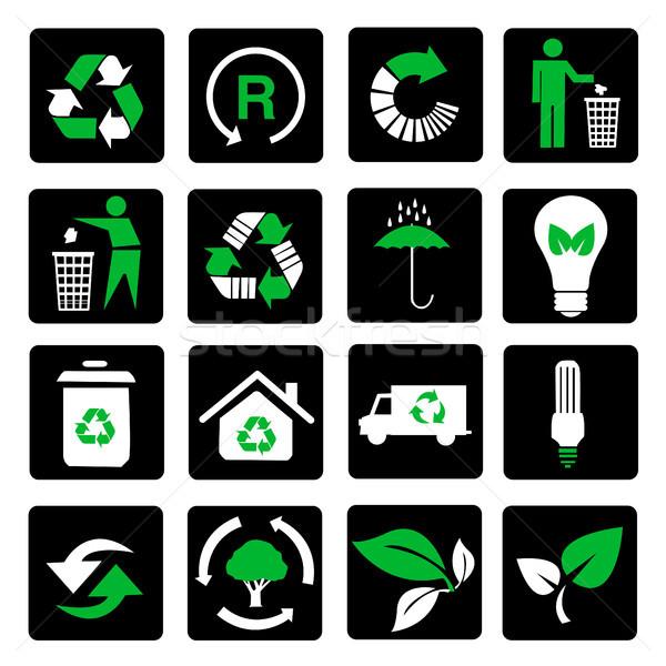 Vektor szett környezeti újrahasznosítás ikonok zöld Stock fotó © nezezon