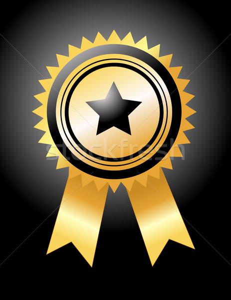 Médaille d'or succès ruban jeux gagner attribution Photo stock © nezezon