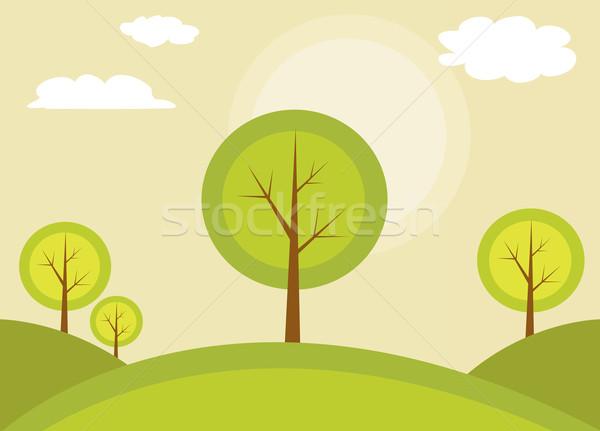 Abstract albero primavera foglia silhouette bella Foto d'archivio © nezezon