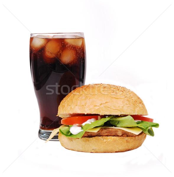 Hamburger Cola blanche pain dîner viande Photo stock © nezezon