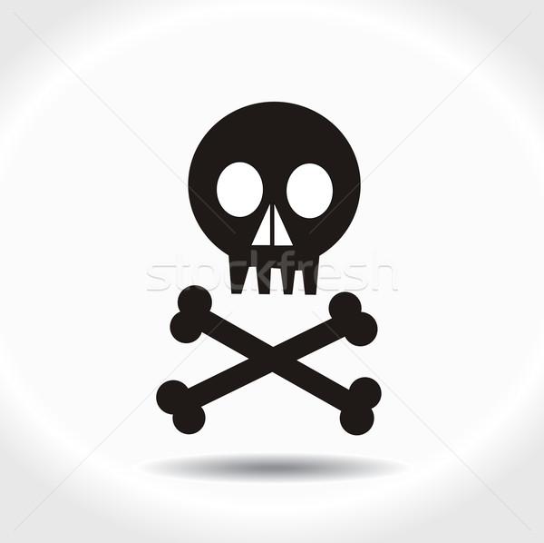 Zwarte vector schedel botten vlag dode Stockfoto © nezezon