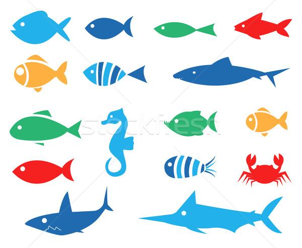 аквариум набор вектора иконки морем Сток-фото © nezezon