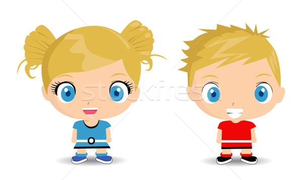 Mutlu çocuklar komik yazmak karikatür sevinç Stok fotoğraf © nezezon