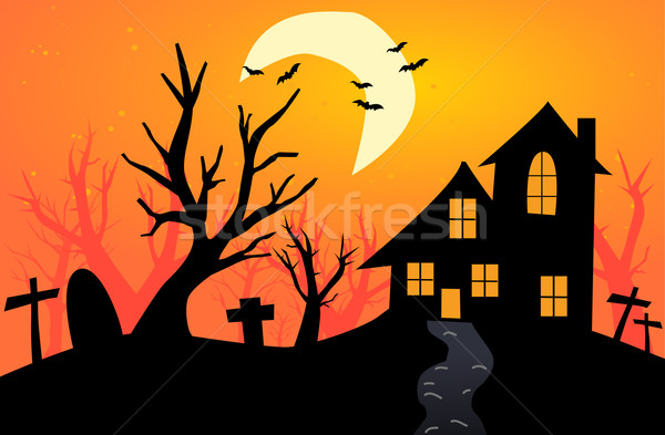 Stock photo: Halloween Background with haunted house