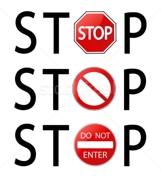 Stop bianco strada sfondo legge autostrada Foto d'archivio © nezezon