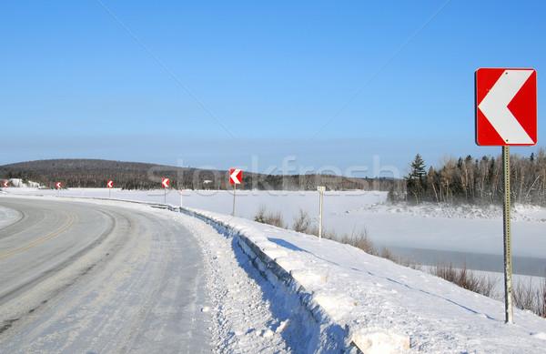 повернуть зима дороги многие направлении признаков Сток-фото © nialat