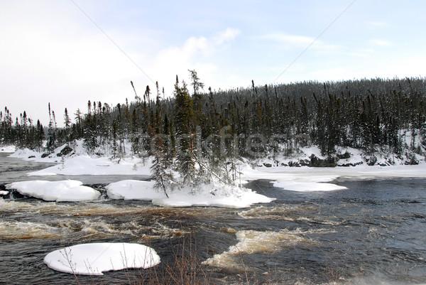 Dondurulmuş nehir kuzey kar soğuk gün Stok fotoğraf © nialat