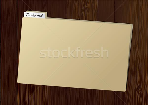 Dossier brun tag table en bois bois sombre Photo stock © nicemonkey