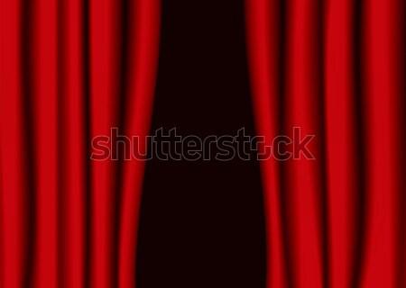 Kırmızı tiyatro perde boşluk perde Stok fotoğraf © nicemonkey