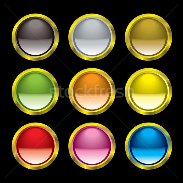 Gel knop goud rand negen knoppen Stockfoto © nicemonkey
