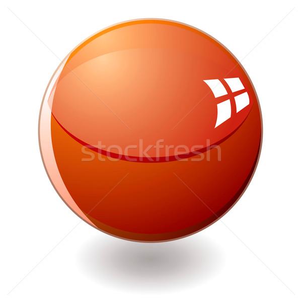 ストックフォト: オレンジ · 大理石 · 影 · ガラス · オーブ