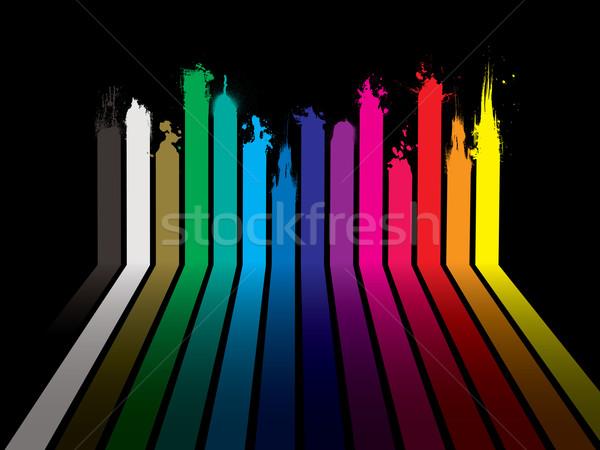 Regenbogen malen Dribbling schwarz hellen Streifen Stock foto © nicemonkey