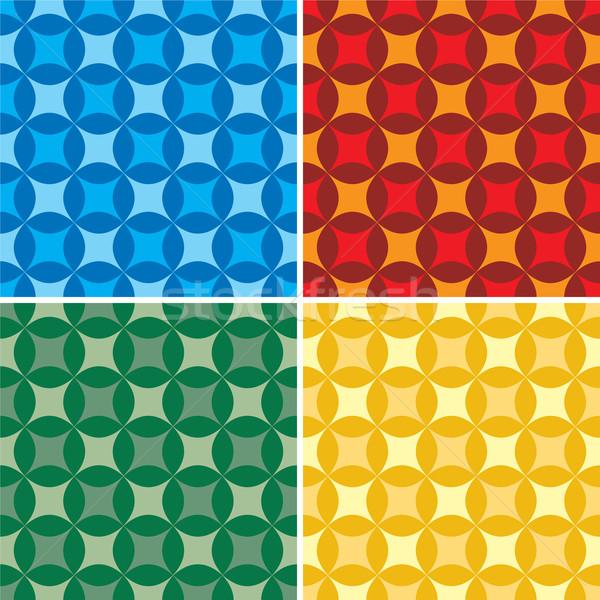 Yetmişli resimli stil duvar kağıdı dört renk Stok fotoğraf © nicemonkey