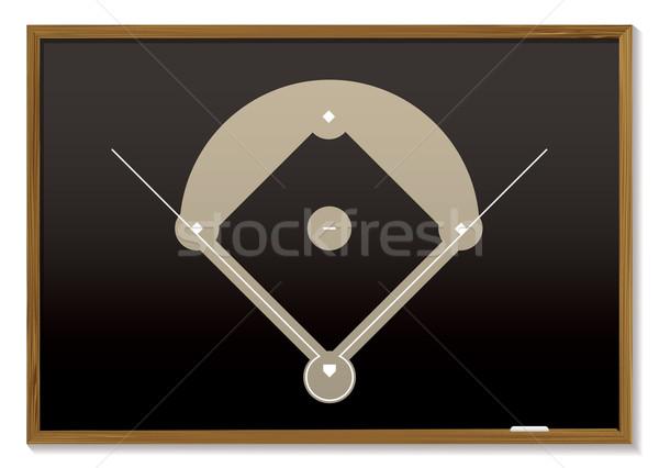 Baseball iskolatábla tanít iskolatábla alapvető baseball pálya Stock fotó © nicemonkey