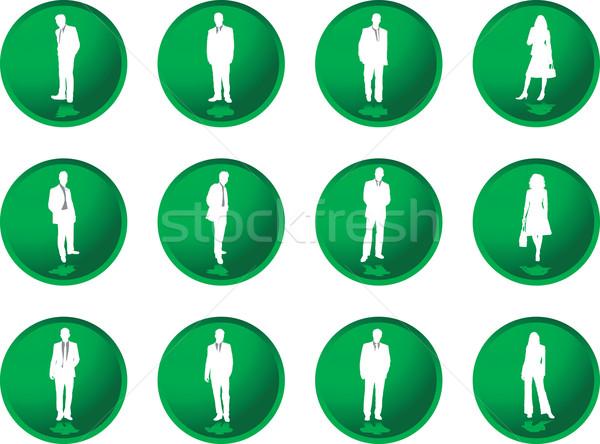 Pulsanti uomini d'affari dodici verde illustrato uomini d'affari Foto d'archivio © nicemonkey