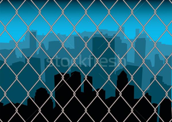 city behind fence Stock photo © nicemonkey