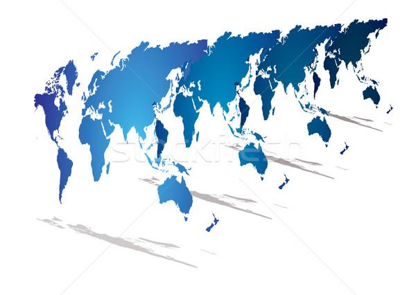 Wereldkaart perspectief moderne kijken Blauw 3D Stockfoto © nicemonkey