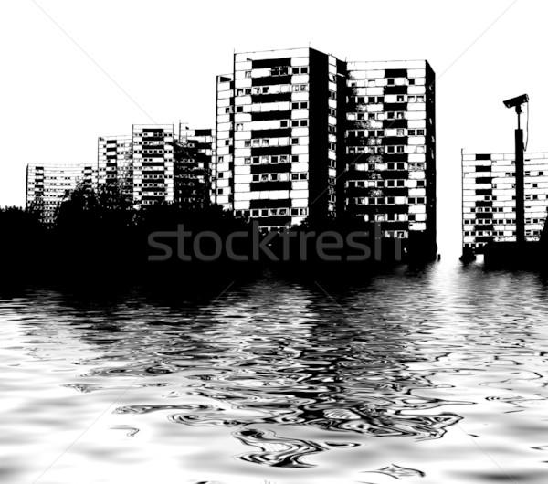 Skyline alluvione illustrato città acqua Foto d'archivio © nicemonkey