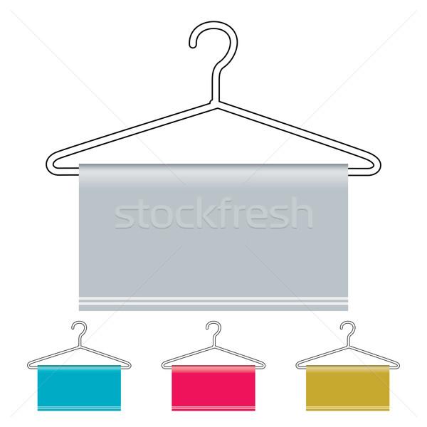 Kleerhanger icon schets materiaal exemplaar ruimte metaal Stockfoto © nicemonkey