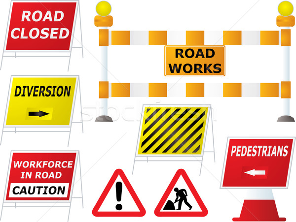 road works signs Stock photo © nicemonkey