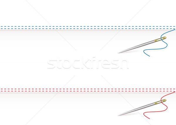 Aguja trabajo frontera coser hilo blanco Foto stock © nicemonkey