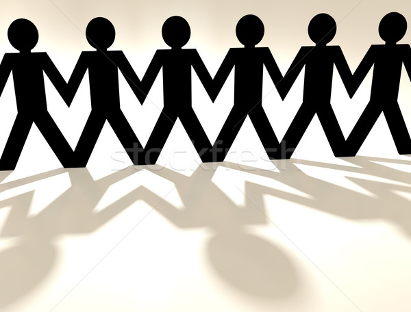 Papieru łańcucha ludzi cień Zdjęcia stock © nicemonkey
