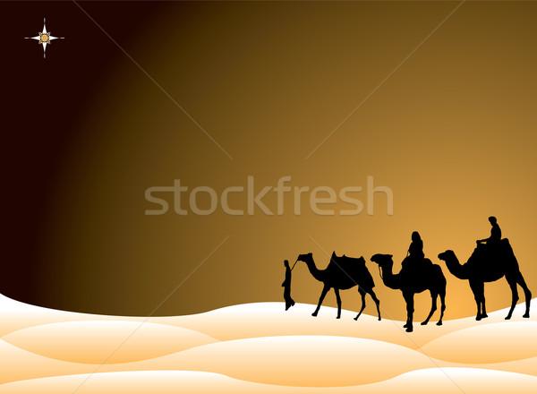 Сток-фото: традиционный · Рождества · сцена · трех · королей · Верблюды · небе