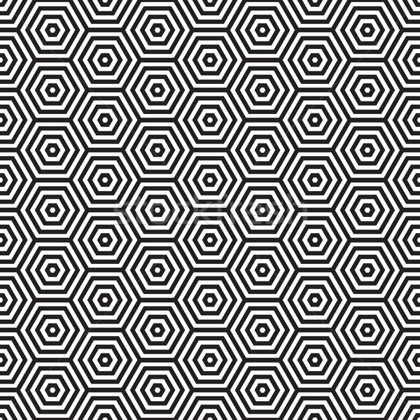 Retro siedemdziesiątych wzór sześciokąt czarno białe Zdjęcia stock © nicemonkey