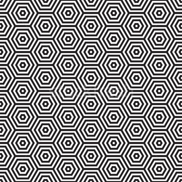 Retro setenta patrón hexágono blanco negro Foto stock © nicemonkey
