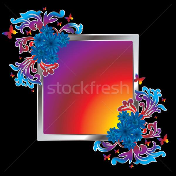 Foto stock: Quadro · colorido · quadro · de · imagem · floral · flor · fundo