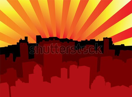Sunrise City Scape vue matin soleil Photo stock © nicemonkey