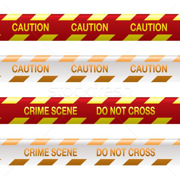 Cena do crime fita vermelho quatro tiras amarelo Foto stock © nicemonkey