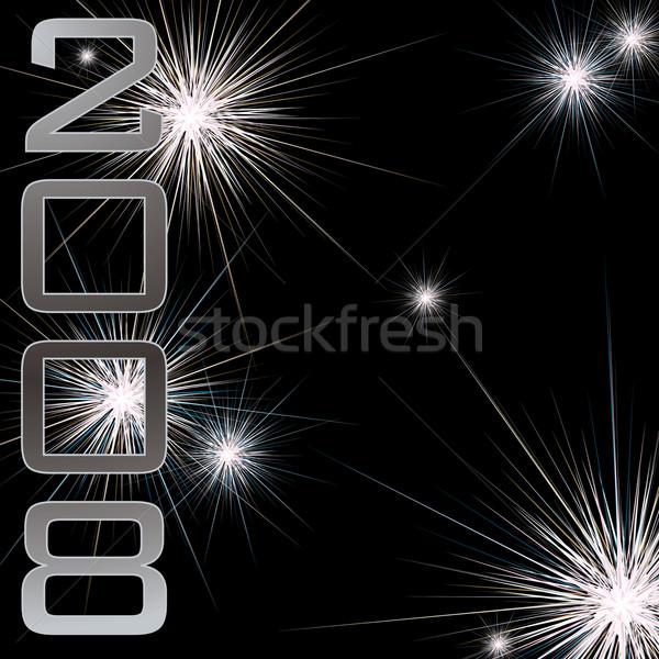 Nowy rok fajerwerków ilustracja Widok 2008 czarny Zdjęcia stock © nicemonkey