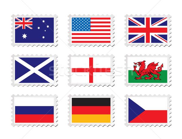 Timbro bandiera raccolta nove paese blu Foto d'archivio © nicemonkey