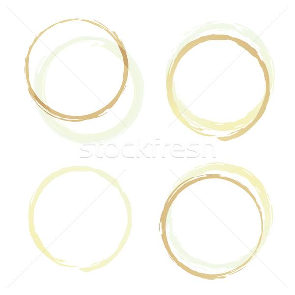 Stock fotó: Kávé · gyűrűk · négy · illusztrált · barna · foltos