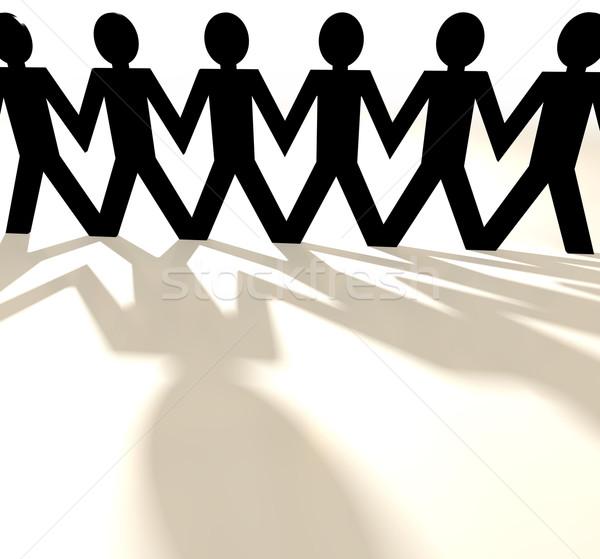 Photo stock: Papier · chaîne · groupe · de · gens · personnes · ombre