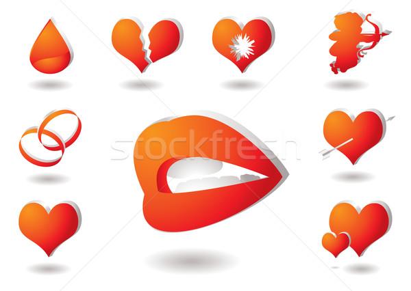 ストックフォト: 愛 · コレクション · 赤 · オレンジ · アイコン · ドロップ