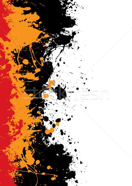 Foto stock: Tinta · frontera · grunge · naranja · rojo · pintura