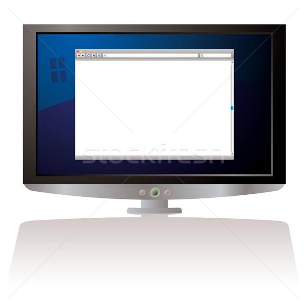 Foto stock: Lcd · teia · navegador · monitor · tela · do · computador · internet