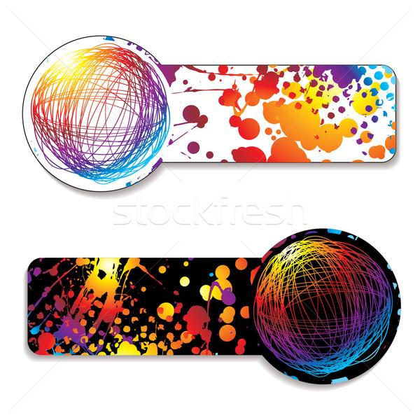 Stock fotó: Szivárvány · címke · tinta · ikon · szín · variáció