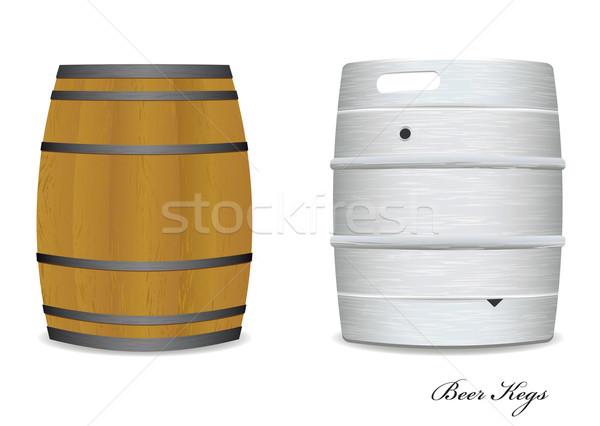Bier vat paar twee nieuwe oude Stockfoto © nicemonkey