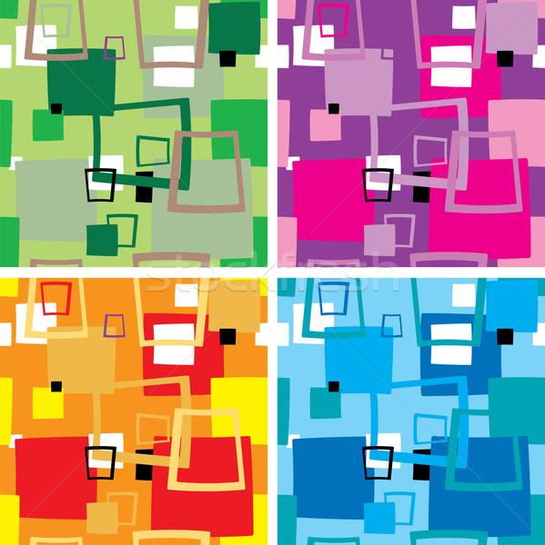Zeventig vierkante vier kleur behang abstract Stockfoto © nicemonkey