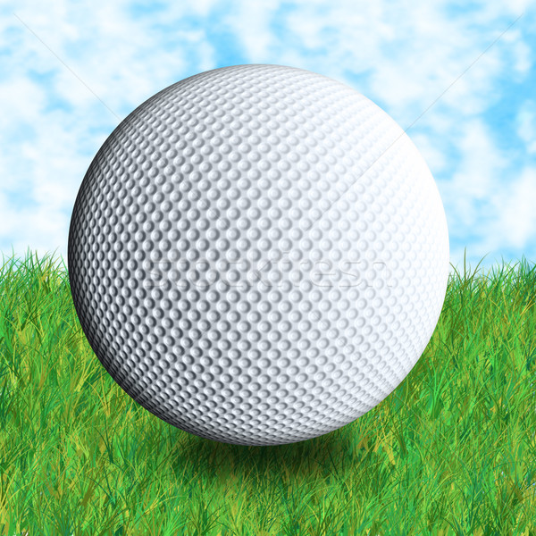 Stock photo: golf ball grass and sky